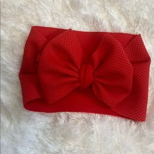 Newborn red textured bow headband